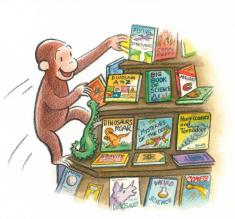 Curious George climbing a book shelf